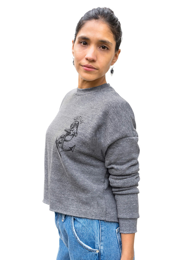 crop sweat otter - heather grey//crop sweat loutre - gris chiné
