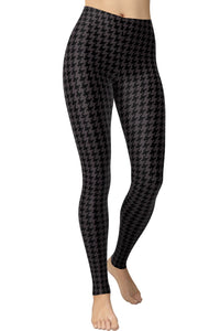 Printed Brushed Leggings - Shadow Houndstooth