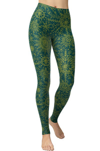 Printed Brushed Leggings - Shining Wheels