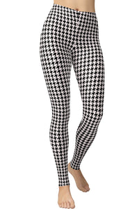Printed Brushed Leggings - White Houndstooth