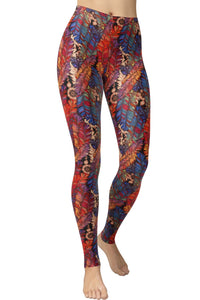 Printed Brushed Leggings - Light Sacred Feather (Digital Print)