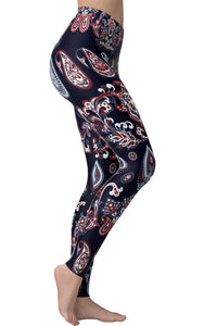 Printed Brushed Leggings - Paisley Tears