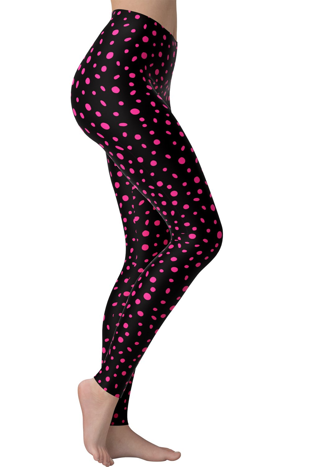 Printed Brushed Leggings - Hot Pink Polka Dot Frenzy