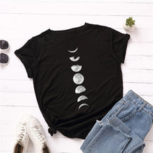 New Moon Planet Women Shirts O Neck Print T-Shirt Tops