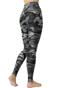 Printed Brushed Leggings - Gray Army Camouflage