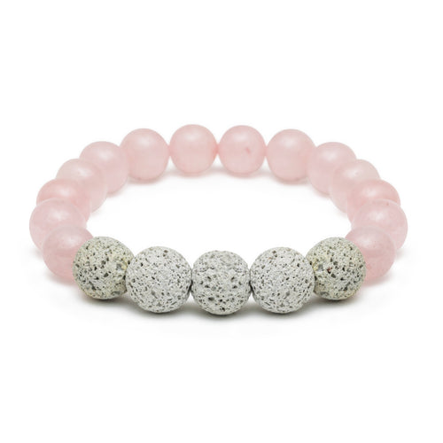Rose Quartz Oil-Diffuser Bracelet