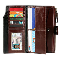 Ladies RFID Blocking Wax Leather Clutch Wallet - The Audacious Boutique