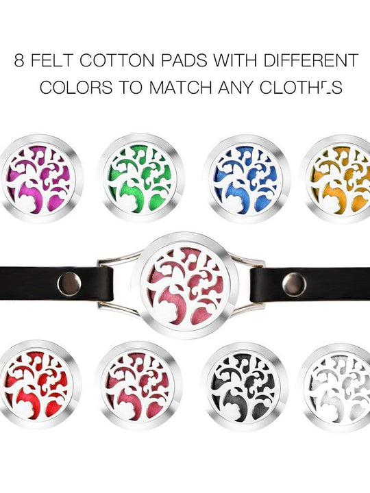 Aromatherapy Essential Oil Diffuser Stainless Steel Leather Band Bracelet Leather