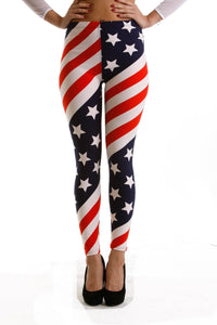 American Flag Patriotic Printed Women Leggings - The Audacious Boutique