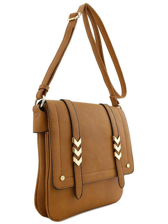 Large Flapover Crossbody Double Compartment Purse Bag