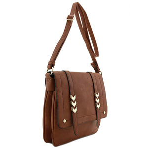 Large Flapover Crossbody Double Compartment Purse Bag - The Audacious Boutique