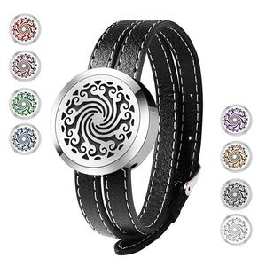 Aromatherapy Essential Oil Diffuser Stainless Steel Leather Band Bracelet Leather - The Audacious Boutique