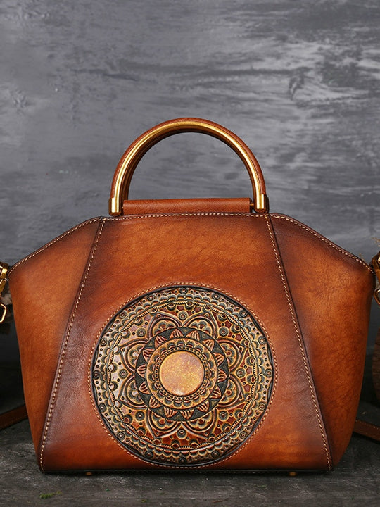 Genuine Leather Ladies Handbag Retro Elegant Shoulder Messenger Bag
