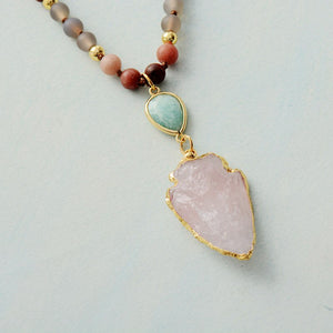 Frosted Natural Stones Arrowhead Pendant Necklace Women Turquoises