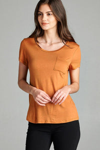 Ladies Short Sleeve Scoop Neck With Pocket - The Audacious Boutique