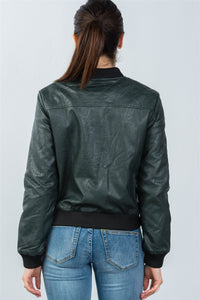 Pleather Bomber Fully Lined Peacock Jacket - The Audacious Boutique