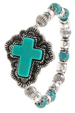 Ladies fashion faux gem ornate cross accent bracelet - The Audacious Boutique