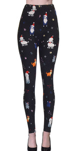 Printed Brushed Leggings - Snowy Animal Kingdom