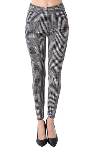 Printed Brushed Leggings - Yellow Lined Checkered