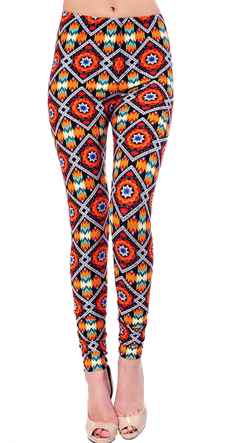 Printed Brushed Leggings - Heat Blast
