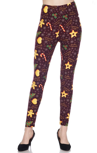 Merry Christmas Gingerbread Man Snowflakes Buttery Soft Leggings - The Audacious Boutique