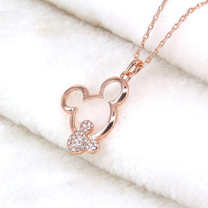Mouse Necklace Pendant Rose Gold Austrian Crystal With Rhinestone - The Audacious Boutique