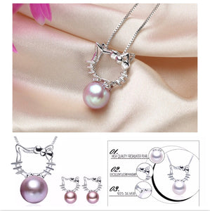Hello Kitty Necklace & Earring 925 Sterling Silver Pearl Set - The Audacious Boutique