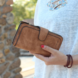 Women's Forever Faux Suede Bi-Fold Wallet - The Audacious Boutique