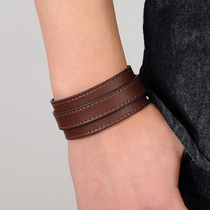 Genuine Leather Bracelet Unisex Wide Wrap Band - The Audacious Boutique