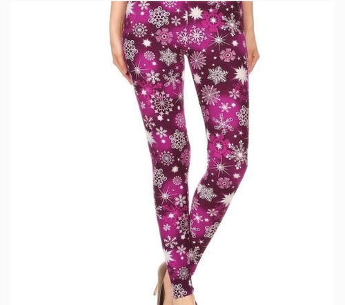 Christmas Fuchsia Snowflakes Buttery Soft Leggings - The Audacious Boutique
