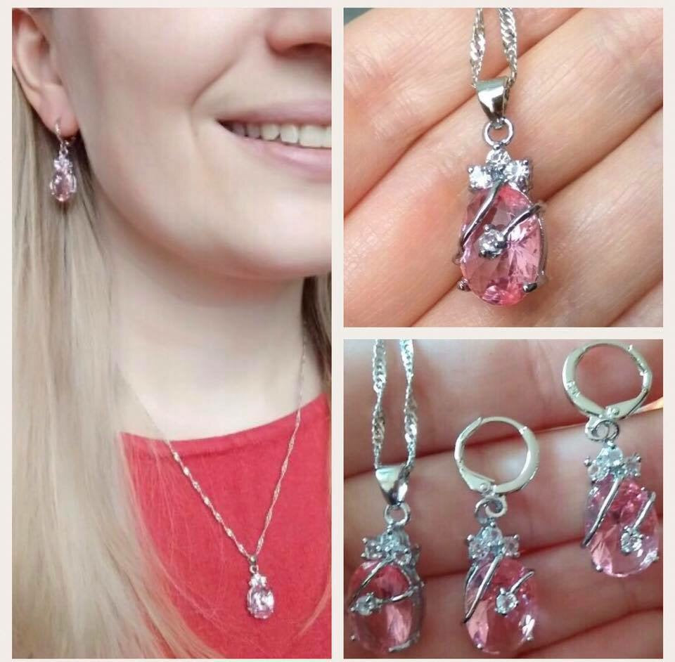 Pink Water Drop 925 Sterling Silver & Austrian Crustal Necklace and Earring Set - The Audacious Boutique