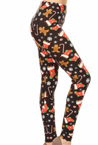Christmas Stockings, Candy Canes & Peppermint Buttery Soft Leggings - The Audacious Boutique