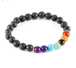 Chakra Stone Lava Rock Bracelet for Essential Oil Diffuser Beads - The Audacious Boutique