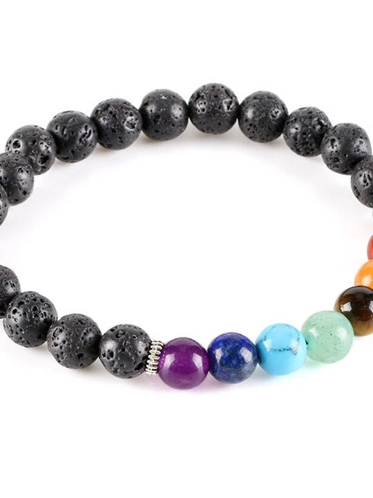 Chakra Stone Lava Rock Bracelet for Essential Oil Diffuser Beads