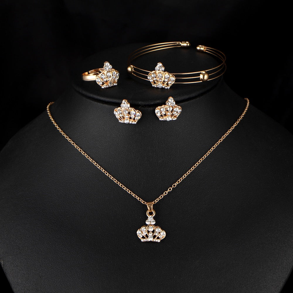 Beautiful Queen/Princess Crown 4-Piece Fashion Jewelry Set - The Audacious Boutique