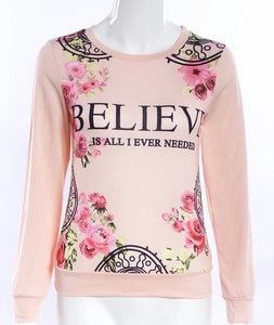Believe Floral Long Sleeve Wonens Shirt - The Audacious Boutique