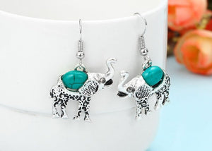 Vintage Bohemian Style Turquoise Elephant Jewelry Set - The Audacious Boutique