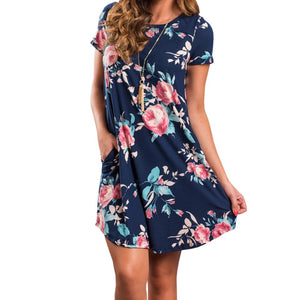 Casual Floral Print Mini Dress Short Sleeve O-Neck With Pockets - The Audacious Boutique