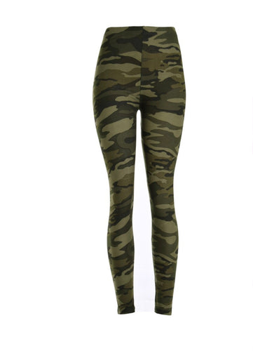 Green Camo Printed Women Leggings - The Audacious Boutique