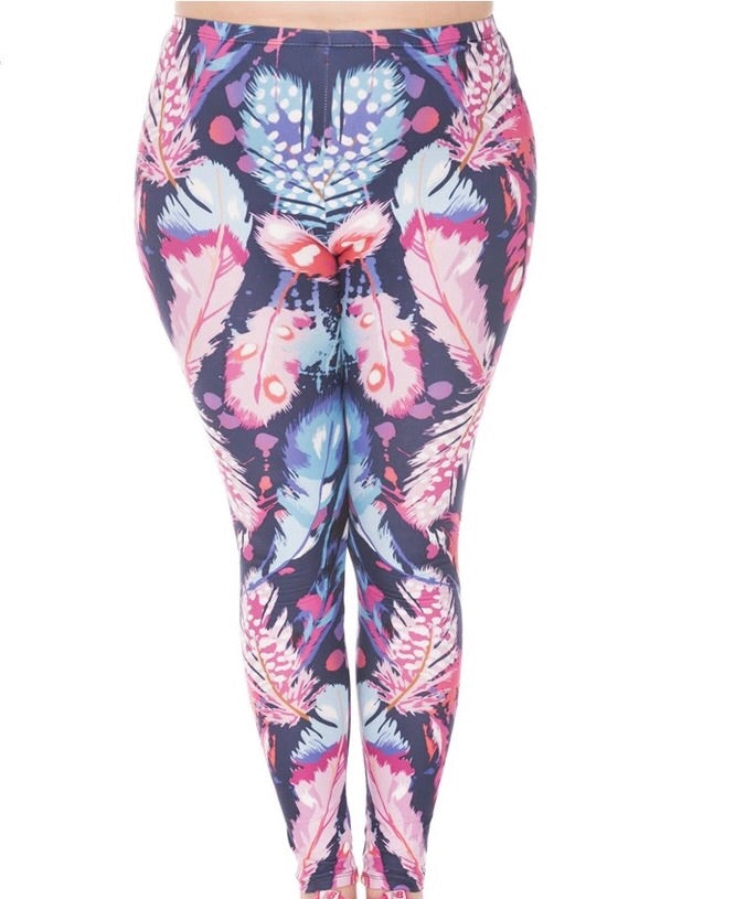 Feathers Printed Women Leggings  (XL-XXL) - The Audacious Boutique