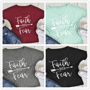 Women's Casual Faith Over Fear Arrow T-Shirt V-Neck Short Sleeve Tee Tops - The Audacious Boutique