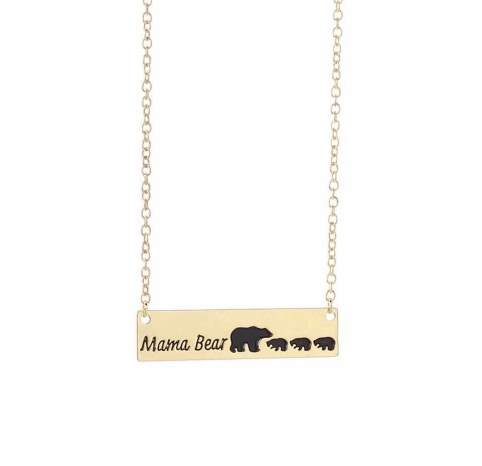Gold Plated Mama Bear and 3 Cubs Necklace - The Audacious Boutique