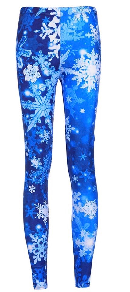 Snowflakes Printed Women Leggings - The Audacious Boutique