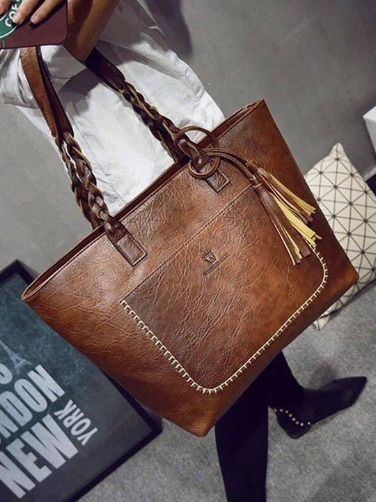 WEIMEIBAIGE OVERSIZED LEATHER TOTE