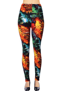 Flaming Color Printed Women Leggings - The Audacious Boutique