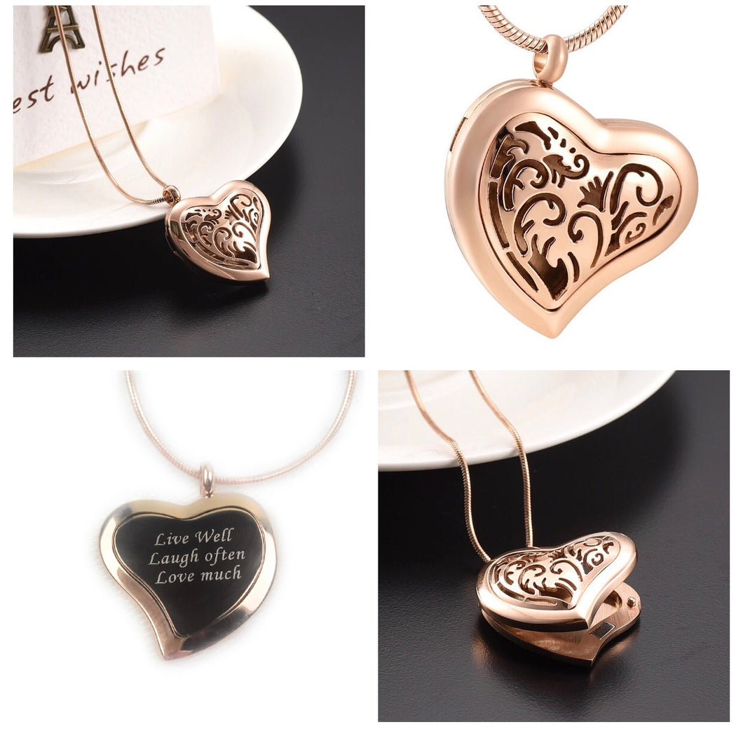 Engraved Heart Oil Diffuser Necklace Stainless Steel/Rose Gold Plated - The Audacious Boutique