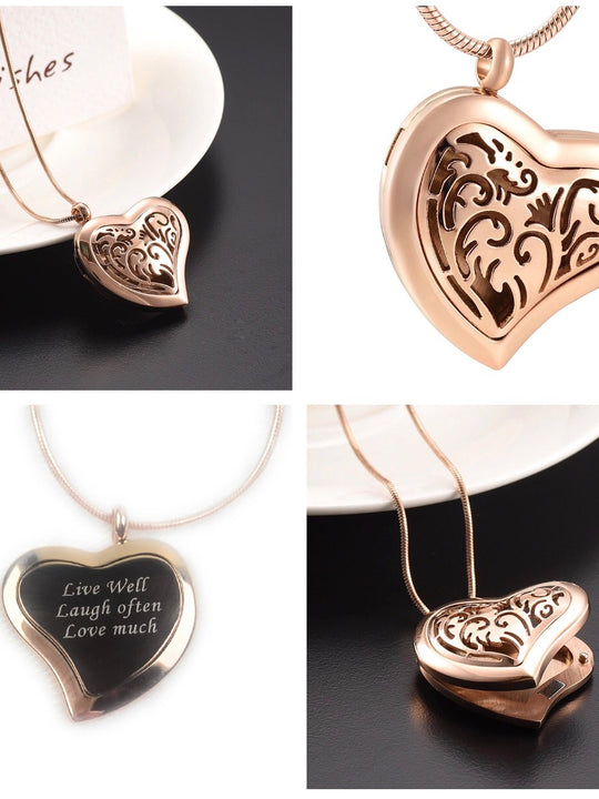 Engraved Heart Oil Diffuser Necklace Stainless Steel/Rose Gold Plated