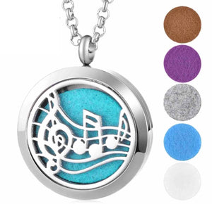 Aromatherapy Essential Oils Diffuser Necklace Musical Notes - Stainless Steel 30MM - The Audacious Boutique