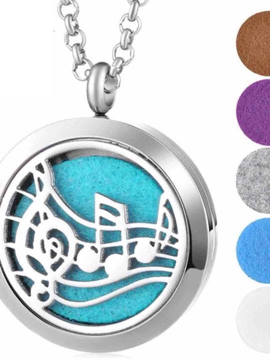Aromatherapy Essential Oils Diffuser Necklace Musical Notes - Stainless Steel 30MM