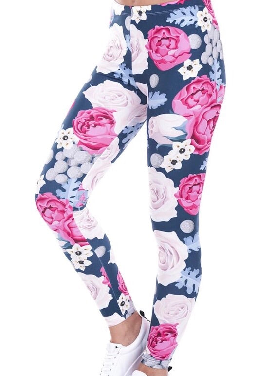 Floral Rose Printed Women Leggings - The Audacious Boutique